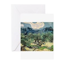 Olive Trees with the Alpilles Greeting Cards (Pk o
