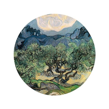 """Olive Trees with the Alpilles 3.5"""" Button"""
