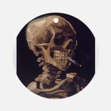 Skull with a Burning Cigarett Ornament (Round)