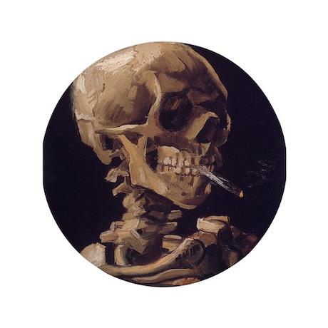 "Skull with a Burning Cigarett 3.5"" Button"