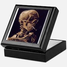 Skull with a Burning Cigarett Keepsake Box