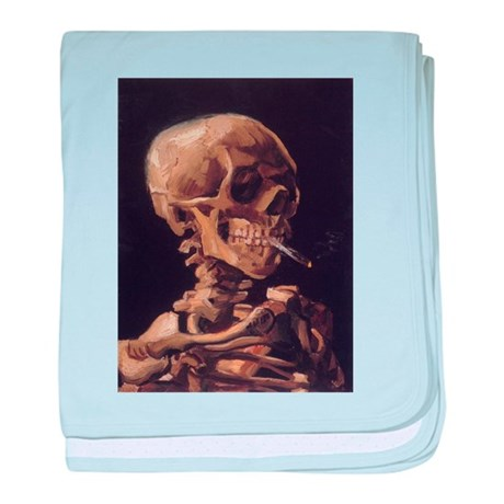 Skull with a Burning Cigarett baby blanket
