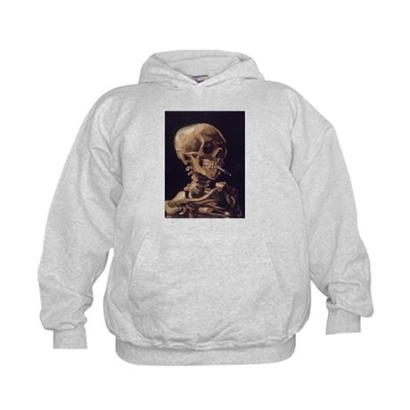 Skull with a Burning Cigarett Kids Hoodie