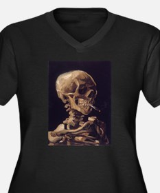 Skull with a Burning Cigarett Women's Plus Size V-