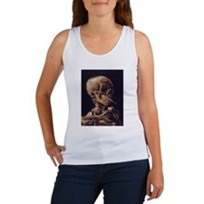Skull with a Burning Cigarett Women's Tank Top