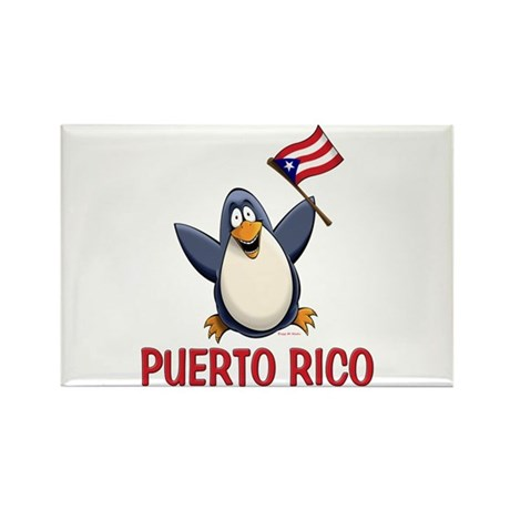Puerto Rico Penguin Rectangle Magnet