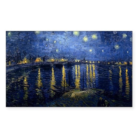 Starry Night Over the Rhone Sticker (Rectangle 50