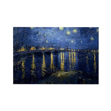 Starry Night Over the Rhone Rectangle Magnet (100