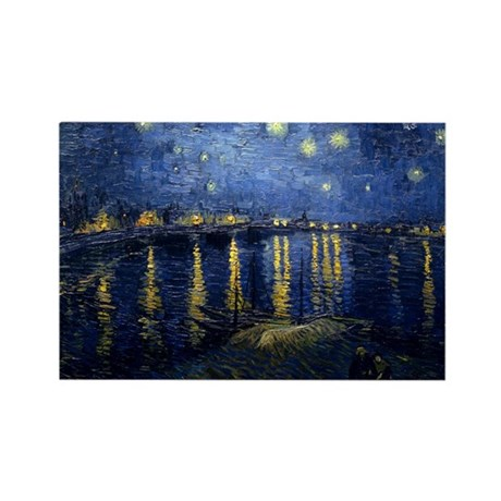 Starry Night Over the Rhone Rectangle Magnet (10 p