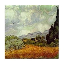 Wheat Field with Cypresses Tile Coaster