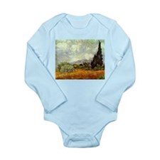 Wheat Field with Cypresses Long Sleeve Infant Body