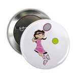 "Cute Tennis Girl 2.25"" Button"