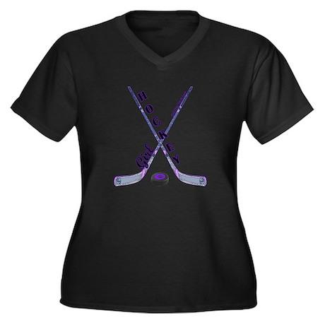 HOCKEY GIRL Women's Plus Size V-Neck Dark T-Shirt