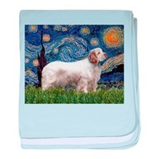 Starry Night Clumber Spaniel baby blanket