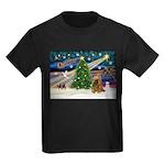 XmasMagic/Cocker (Brn) Kids Dark T-Shirt