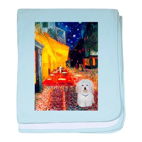 Cafe with Coton de Tulear baby blanket