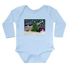 Xmas Magic-Doxie (Blk) Long Sleeve Infant Bodysuit