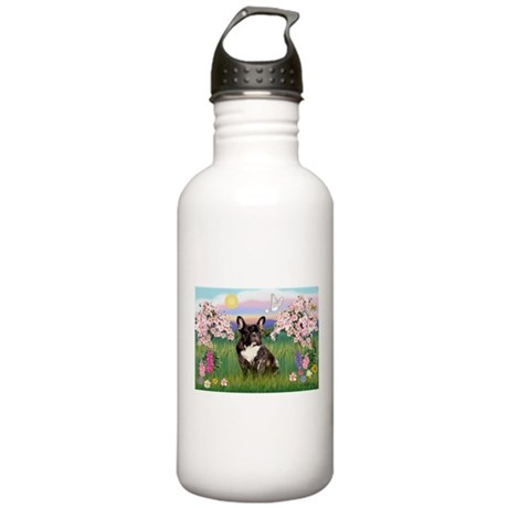 Blossoms & French Bulldog Stainless Water Bottle 1