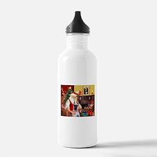 Santa's Great Dane (f) Water Bottle