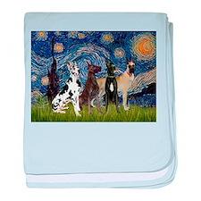 Starry Night / 4 Great Danes baby blanket