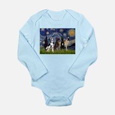 Starry Night / 4 Great Danes Long Sleeve Infant Bo