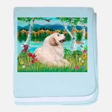 Country Birches & Great Pyrenees baby blanket