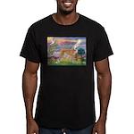 Cloud Angel & Greyound Men's Fitted T-Shirt (dark)