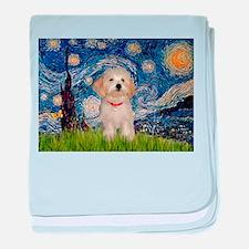 Starry Night Havanese Pup baby blanket