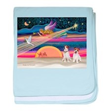Xmas Star & JRT pair baby blanket