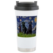 Starry Night / 2 Black Labs Travel Mug