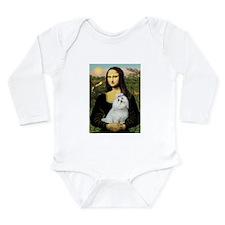 Mona Lisa/Maltese (#6) Long Sleeve Infant Bodysuit
