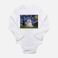 Starry Night & Maltese Long Sleeve Infant Bodysuit