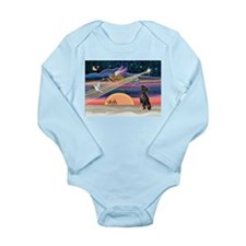 Xmas Star & Min Pin Long Sleeve Infant Bodysuit