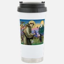 St. Francis & Min Pin Stainless Steel Travel Mug