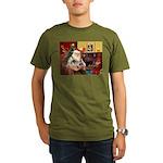 Santa's 2 Pekingese Organic Men's T-Shirt (dark)