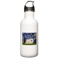 Starry Night white Peke Water Bottle