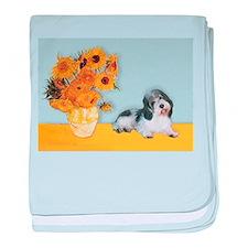 Sunflowers/ Petit Basset #8 baby blanket