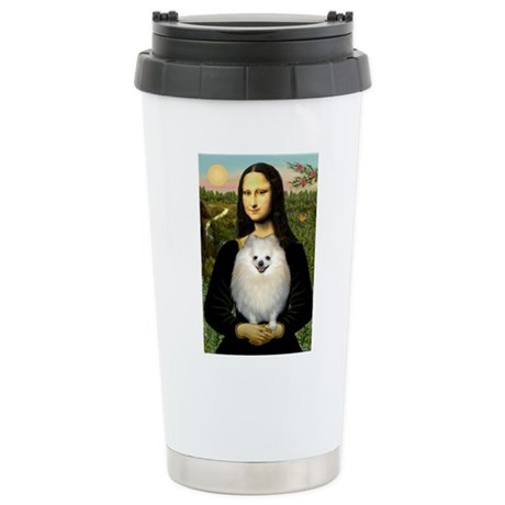 Mona's White Pom Stainless Steel Travel Mug