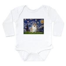 Starry/Pomeranian (#1) Long Sleeve Infant Bodysuit