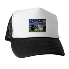 Starry/3 Pomeranians Trucker Hat