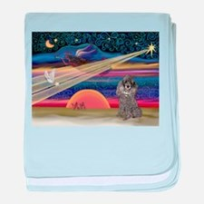Xmas Star Silver Poodle baby blanket