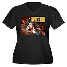 Santa's Poodle Trio Women's Plus Size V-Neck Dark