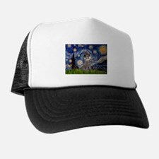 Starry Night Silver Poodle Trucker Hat