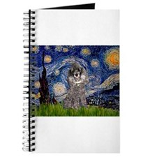 Starry Night Silver Poodle Journal