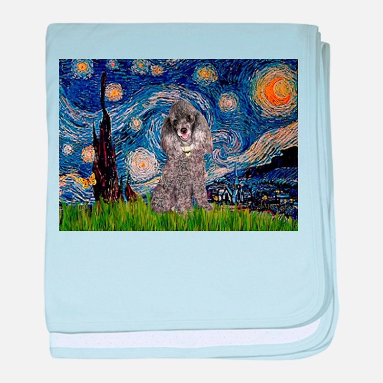 Starry Night Silver Poodle baby blanket