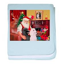 Santa's 2 Std Poodles baby blanket