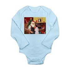 Santa's 2 Std Poodles Long Sleeve Infant Bodysuit