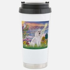 Cloud Angel White Poodle Travel Mug