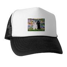 2 Poodles in Monet's Lilies Trucker Hat