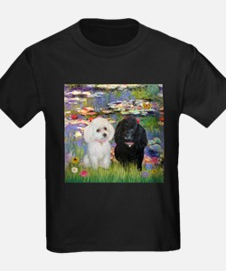2 Poodles in Monet's Lilies T